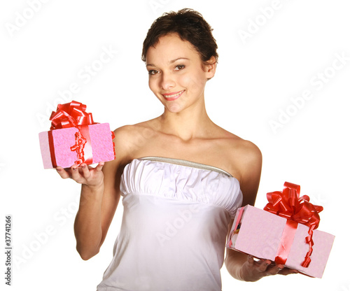 Young lovely smiling woman holding gift