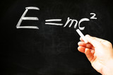 E=mc² Albert Einsteins physical formula on blackboard poster