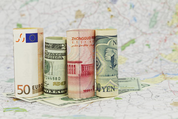 Four Currencies, Euro, Dollar, Yuan, and Yen