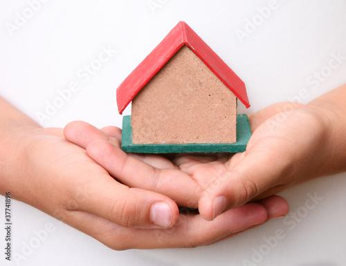 cardboard over hands