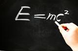 E=mc² Albert Einsteins physical formula on blackboard poster