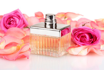 perfume in a beautiful bottle, petals and pink roses isolated