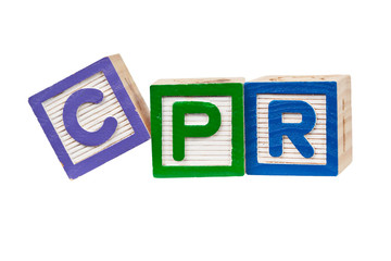 Wooden blocks forming the letters CPR isolated