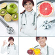 Healthy eating and healthcare collage