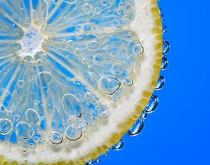 Bubbles on lemon segment