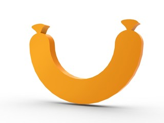 3d Icon Wurst orange
