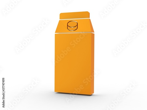 3d Icon Milchtüte orange