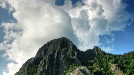 Head of a mountain and sky time lapse