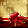 Valentines hearts on golden background