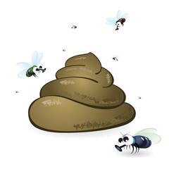 Cartoon feces and flies