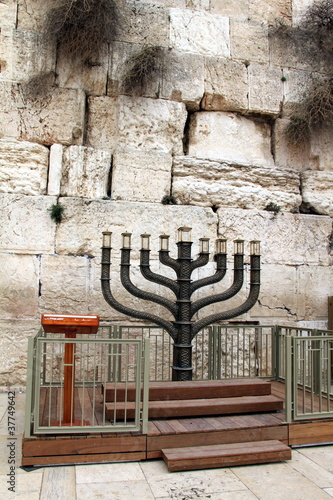 Jewish hanukkah candle holder at the Western Wall. Jerusalem.
