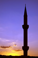 Minaret of the mosque during sunset, Turkey