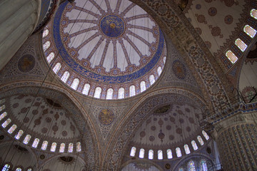 Interior of Blue mosque in Istanbul, Turkey