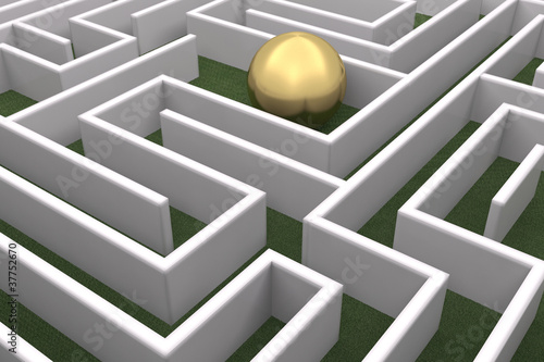 Gold sphere in the labyrinth