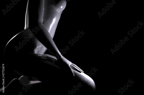 Plastic women body on black background