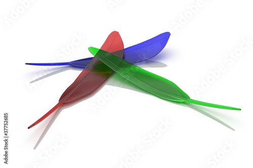 RGB quill on white background