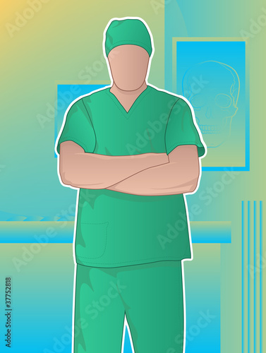 Confident doctor standing with arms crossed
