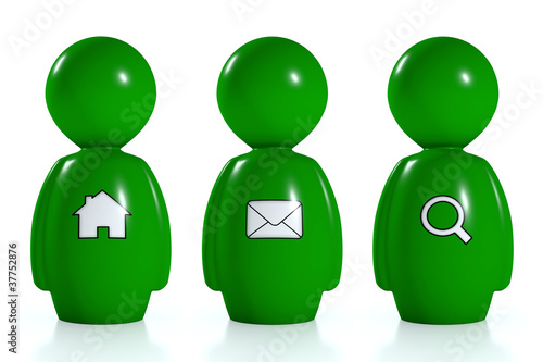 3d green humans with web symbols