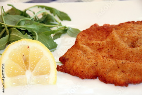 Cotoletta with lemon Sardinia island Italy
