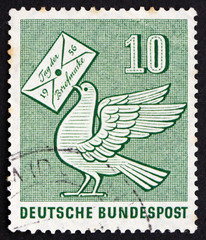 Postage stamp Germany 1956 Pigeon Holding Letter