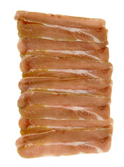layers of fresh prosciutto on a white background