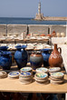 Pottery on quayside at Chania Crete Greece