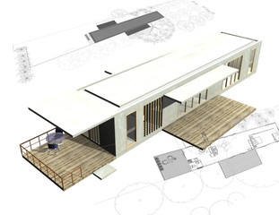 Housing architecture plans with 3D building