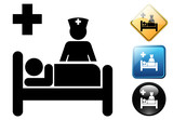Hospital bed pictogram and signs