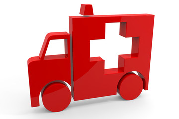 Red 3d sign of ambulance.