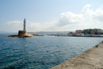 Lighthouse at Chania on the island of Crete Greece
