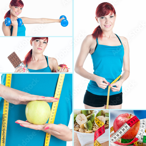 Fitness and healthy-eating collage