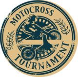 Fototapety Motocross Tournament stamp, vector illustration