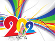 abstract colorful new year background with wave