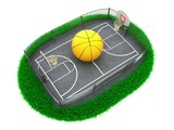 3D Concept Basketball Arena on White Background