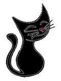 Gato negro sonriente poster