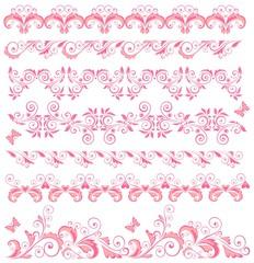 Beautiful pink seamless borders