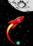 Retro Rocket Spaceship to the Moon