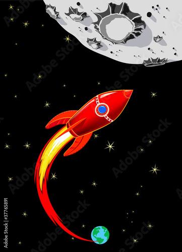 Retro Rocket Spaceship to the Moon - 37765891