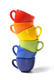 Six colorful cups