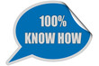 SP-Sticker blau curl oben 100% KNOW HOW