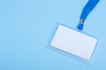 blank business plastic badge with blue neck strap