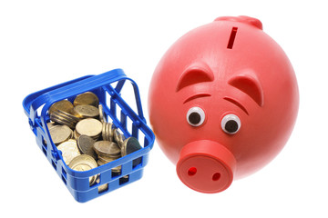 Piggy Bank with Basket of Coins