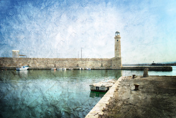 The Venetian Harbour at Rethymno Crete Greece