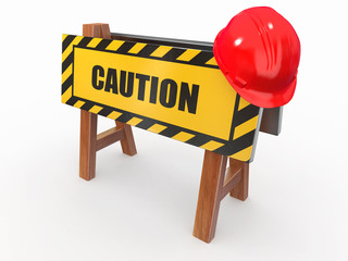 Barrier with text caution and hardhat