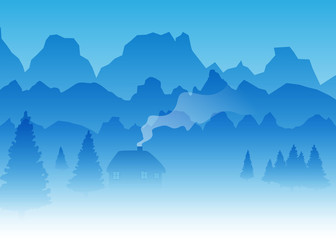 Vector Mountains with Pine Trees and a Log Natural Landscape Ill