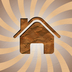 house recycled paper stick on background