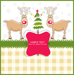 New Year's greeting card with reindeer