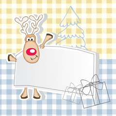 New Year's greeting card with reindeer and gifts