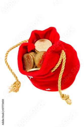 Red bag with coins