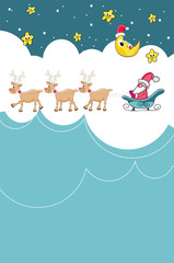 New Year santa sleigh and reindeer with